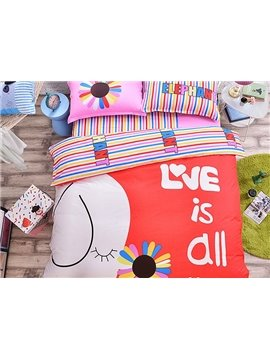 Elephant with Flower Pattern Kids Cotton 4-Piece Duvet Cover Sets