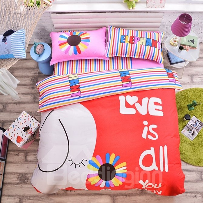 Elephant with Flower Pattern Kids Cotton 4-Piece Duvet Cover Sets