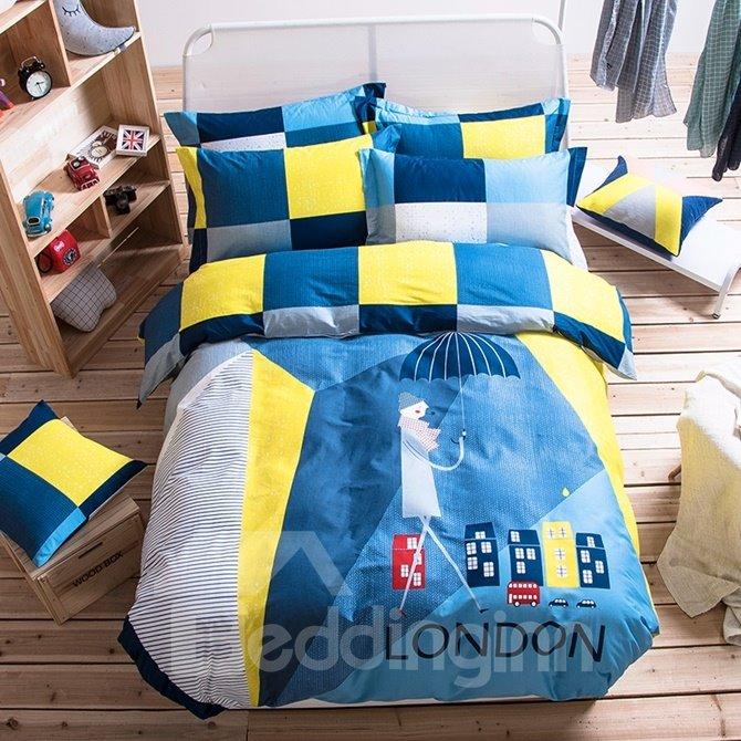 Creative Man with Umbrella Pattern Kids Cotton 4-Piece Duvet Cover Sets
