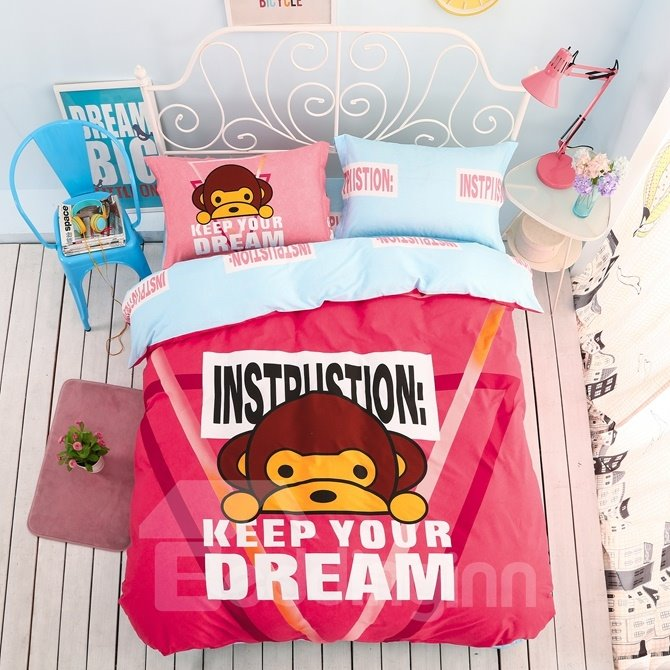 Inspirational Letters Pattern Kids Cotton 4-Piece Duvet Cover Sets