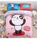 Naughty Panda Pattern Kids Cotton 4-Piece Duvet Cover Sets