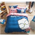 Glasses Boy Pattern Kids Cotton 4-Piece Duvet Cover Sets