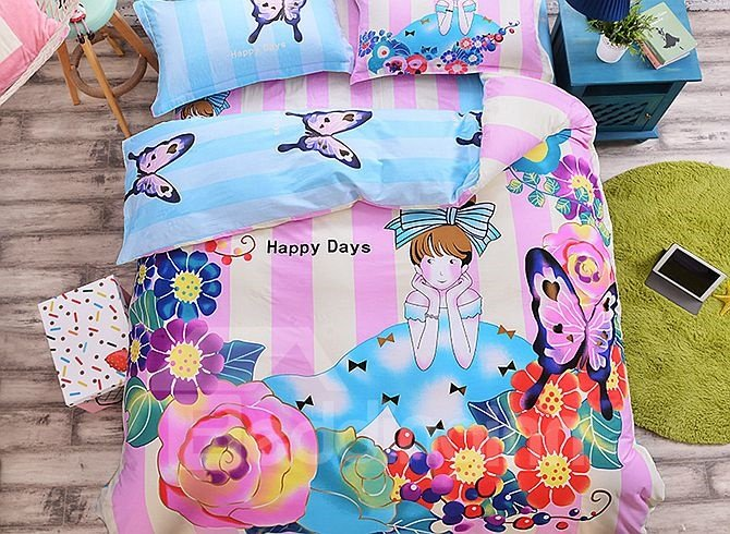 Princess with Flowers Pattern Kids Cotton 4-Piece Duvet Cover Sets