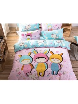 Three Cute Girls Pattern Kids Cotton 4-Piece Duvet Cover Sets