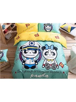 Panda Sailor Pattern Kids Cotton 4-Piece Duvet Cover Sets