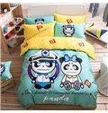 Panda Sailor Pattern Kids Cotton 4-Piece Duvet Cover Sets