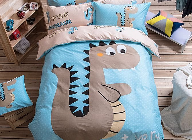 Cartoon Dinosaur Pattern Kids Cotton 4-Piece Duvet Cover Sets