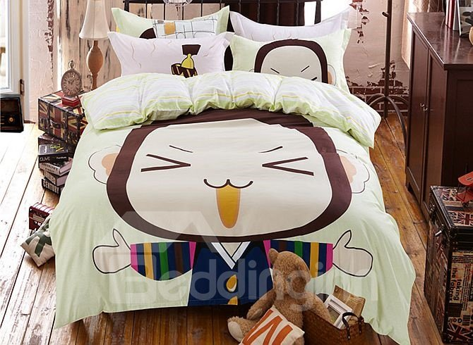 Naughty Monkey Pattern Kids Cotton 4-Piece Duvet Cover Sets