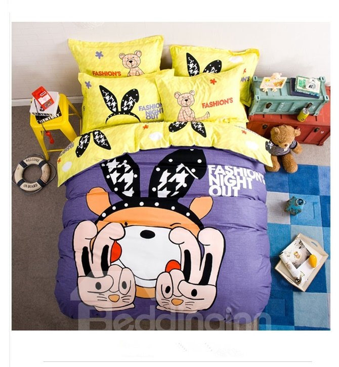 Cute Beer with Headband Pattern Kids Cotton 4-Piece Duvet Cover Sets