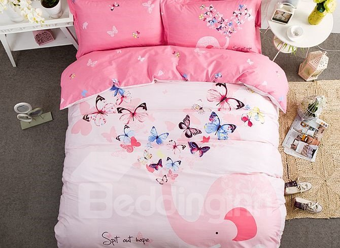 Butterfly and Elephant Pattern Kids Cotton 4-Piece Duvet Cover Sets