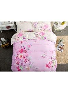 Lovely Butterfly Flowers Pattern Kids Cotton 4-Piece Duvet Cover Sets