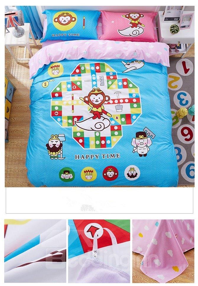 Cartoon Westward Journey Pattern Kids Cotton 4-Piece Duvet Cover Sets