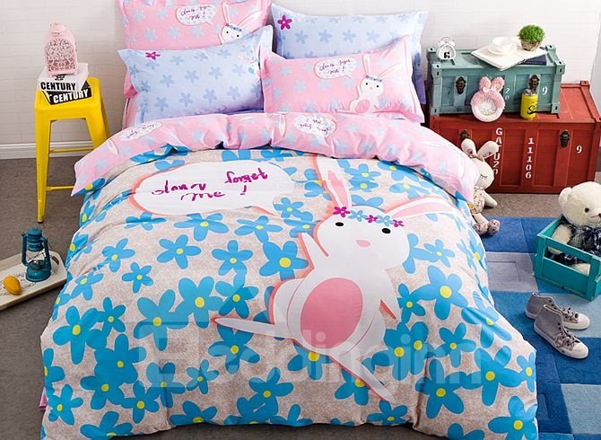 Cute Pink Rabbit Pattern Kids Cotton 4-Piece Duvet Cover Sets