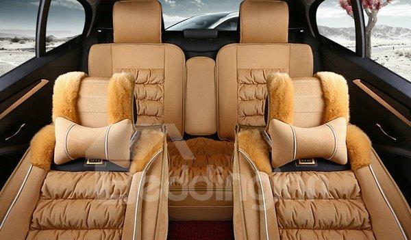 Pretty Comfortable And Warm Fashion Design Plush Down Material Winter Universal Car Seat Cover