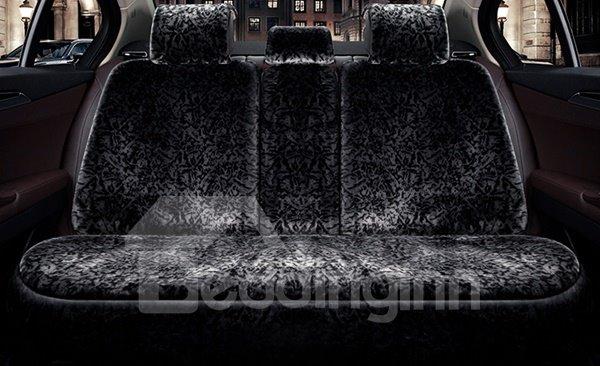 Pure Plush Attractive Black Special Design Warm Winter Universal Car Seat Cover