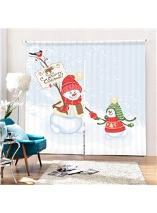 Snowmen Playing Together Printing Christmas Theme 3D Curtain