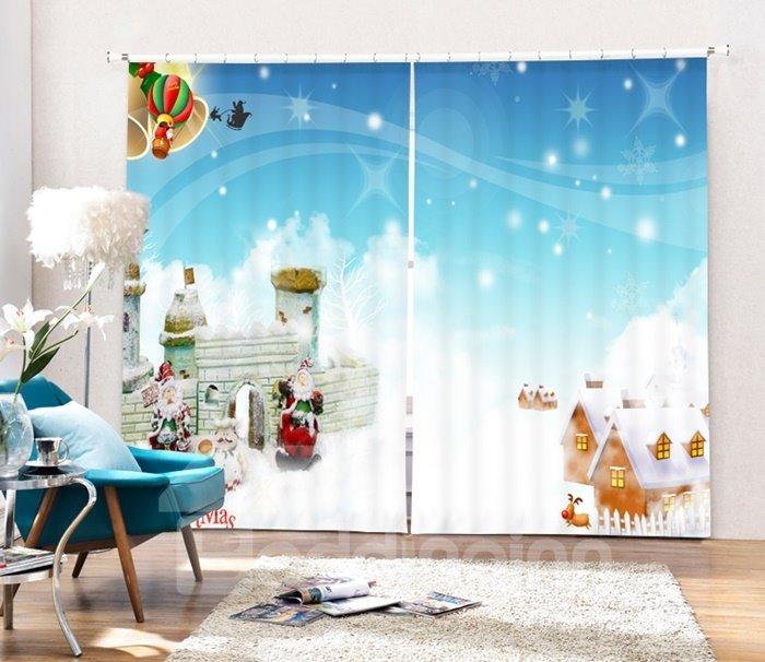 Cute Santa and Warm Village Printing Christmas Theme 3D Curtain