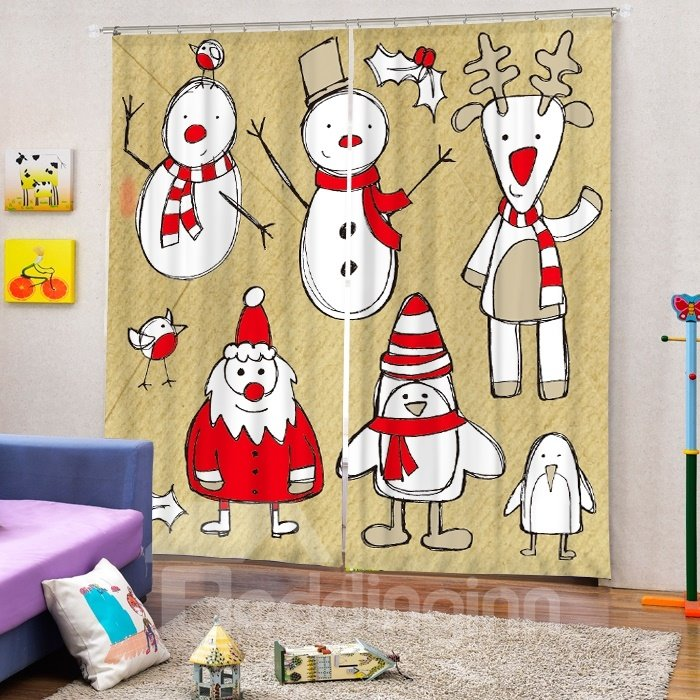 Stick Figures Santa Snowman and Reindeer Printing Christmas Theme 3D Curtain