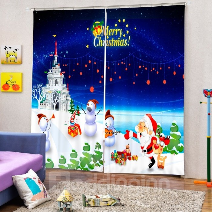 Santa and Snowmen Having a Party Printing Christmas Theme 3D Curtain