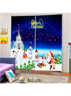 Santa and Snowmen Having a Party Printing Christmas Theme 3D Curtain