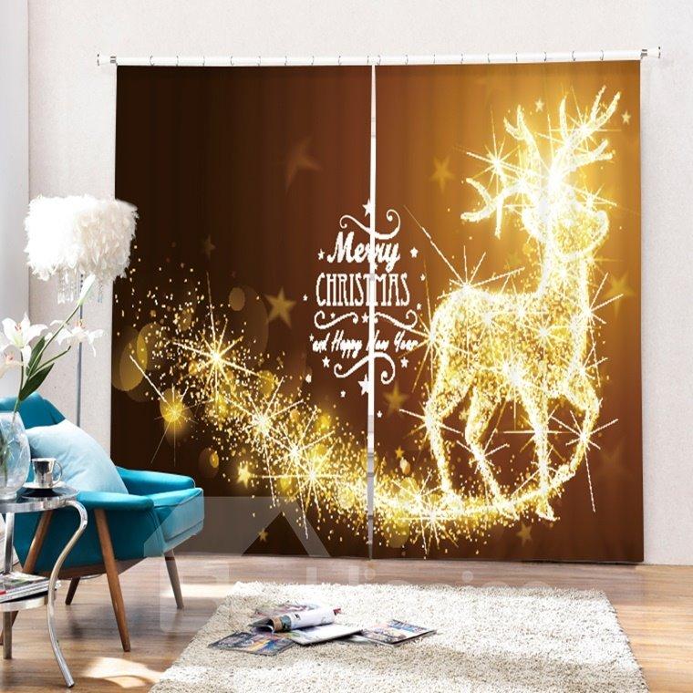 Dreamy Reindeer Merry Christmas Printing Christmas Theme 3D Curtain