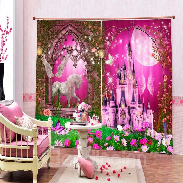3D Pink Castles and White Horse Printed Christmas Theme Living Room ...