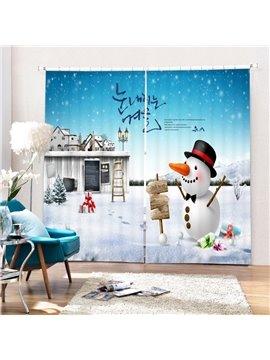 Cartoon Cute Snowman and Magic Castle Printing Christmas Theme 3D Curtain
