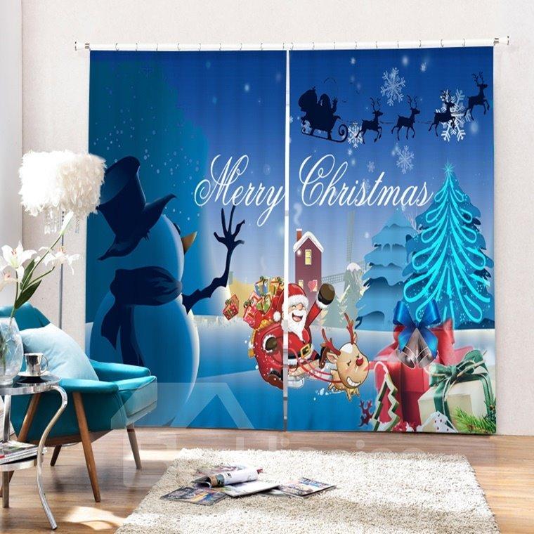 Cute Santa and Snowman Merry Christmas Printing 3D Curtain