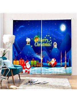 Cartoon Santa Transporting Gifts Printing Christmas Theme 3D Blue Curtain