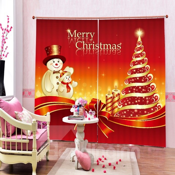Cartoon Snowman Father and Son Printing Christmas Theme 3D Curtain