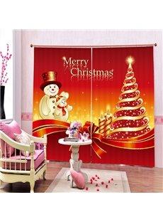 Cartoon Snowman Father and Son Printing Christmas Theme 3D Curtain