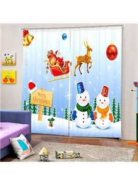 Snowmen Lovers and Santa Riding Reindeer Printing Christmas Theme 3D Curtain