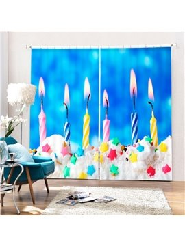 Burning Candles in the Cake Printing Christmas Theme 3D Curtain