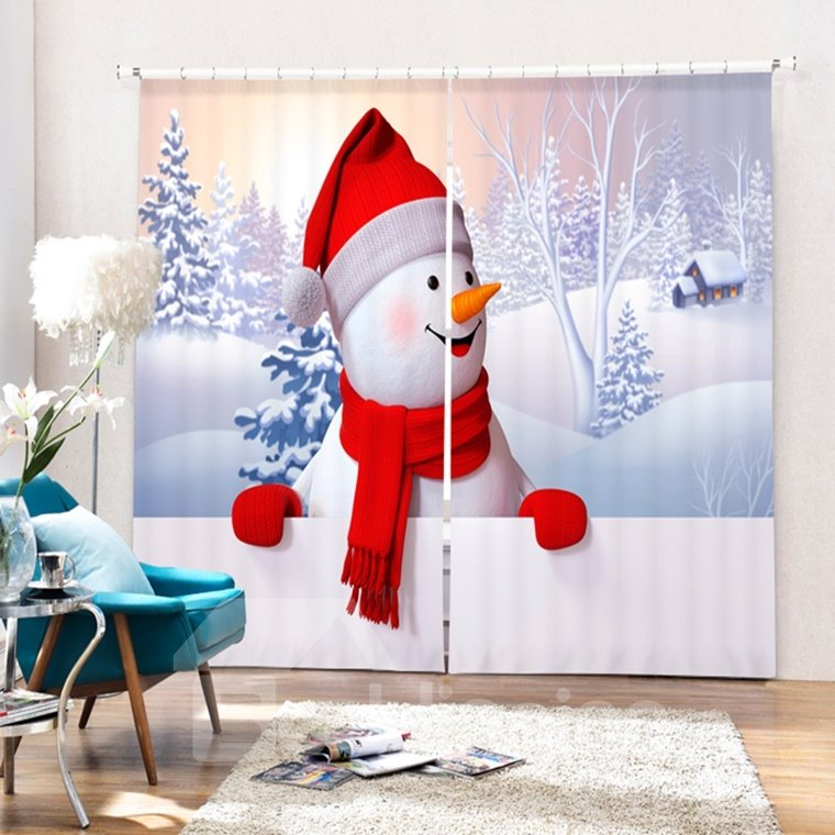 Cute Snowman with Red Scarf and Gloves Smiling Printing Christmas Theme 3D Curtain