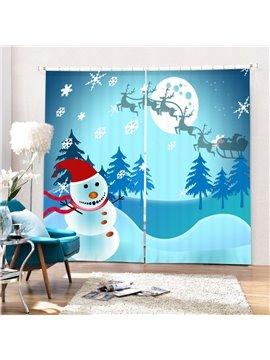 Lovely Cheer Snowman Running Printing Christmas Theme 3D Curtain