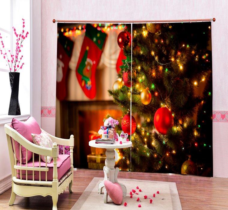 Dreamy Christmas Tree with Light On Printing Christmas Theme 3D Curtain