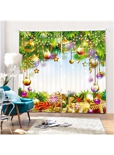 Gifts Under the Christmas Tree with Decors Printing Christmas Theme 3D Curtain