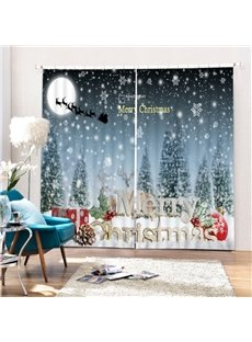 Aesthetic Snow Scene and Merry Christmas Printing 3D Curtain