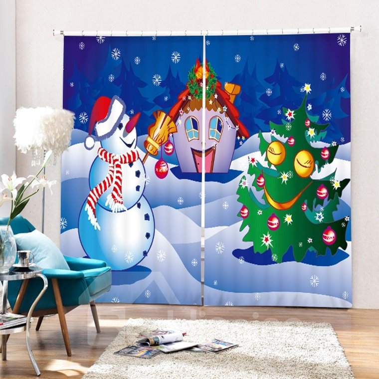 Cartoon Snowman Playing with Christmas Tree and Cabin Printing Christmas Theme 3D Curtain