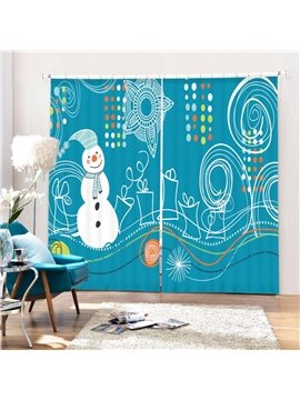 Stick Figures Snowman and Gifts Printing Christmas Theme 3D Curtain