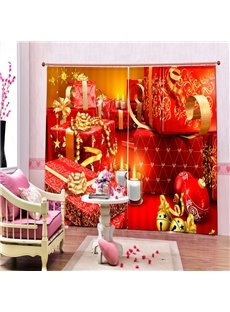 Christmas Gifts and Candy Printing Merry Christmas Theme 3D Curtain