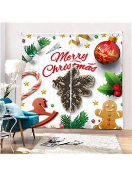 Cute Merry Christmas Decoration Printing 3D Curtain