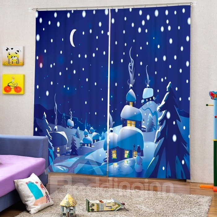 Cartoon Santa House Peaceful Winter Night of the Village Printing Christmas Theme 3D Curtain