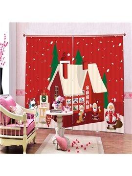 Cartoon Santa House Printing Christmas Theme 3D Curtain