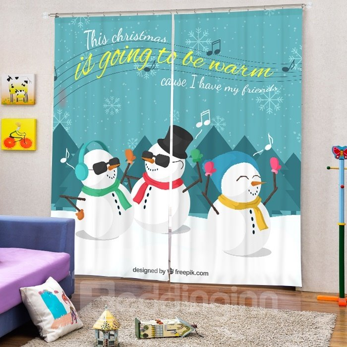 Colorful Rock Snowmen Printing Christmas Theme 3D Curtain
