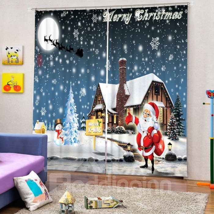 Cartoon Cute Santa Making Christmas Deliveries Printing Christmas Theme 3D Curtain