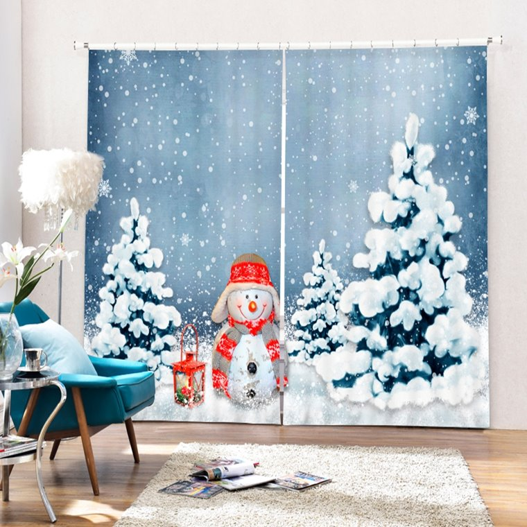 Lovely Snowman Standing near the Pine Printing Christmas Theme 3D Curtain
