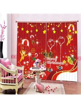 Cartoon Dog Merry Christmas Printing 3D Curtain