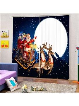 Cartoon Santa Riding Reindeer at Moon Printing Christmas Theme 3D Curtain