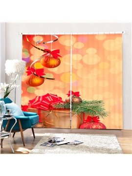 Golden Jingle Bell Printing Christmas Theme 3D Curtain